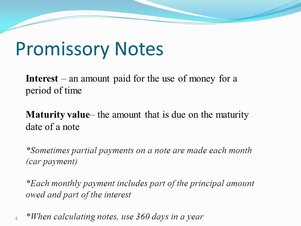Accounting For Notes And Interest Promissory Notes Promissory Note