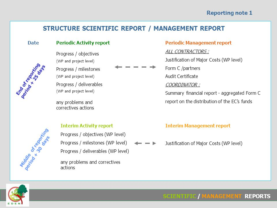 Structure Scientific Report / Management Report Progress