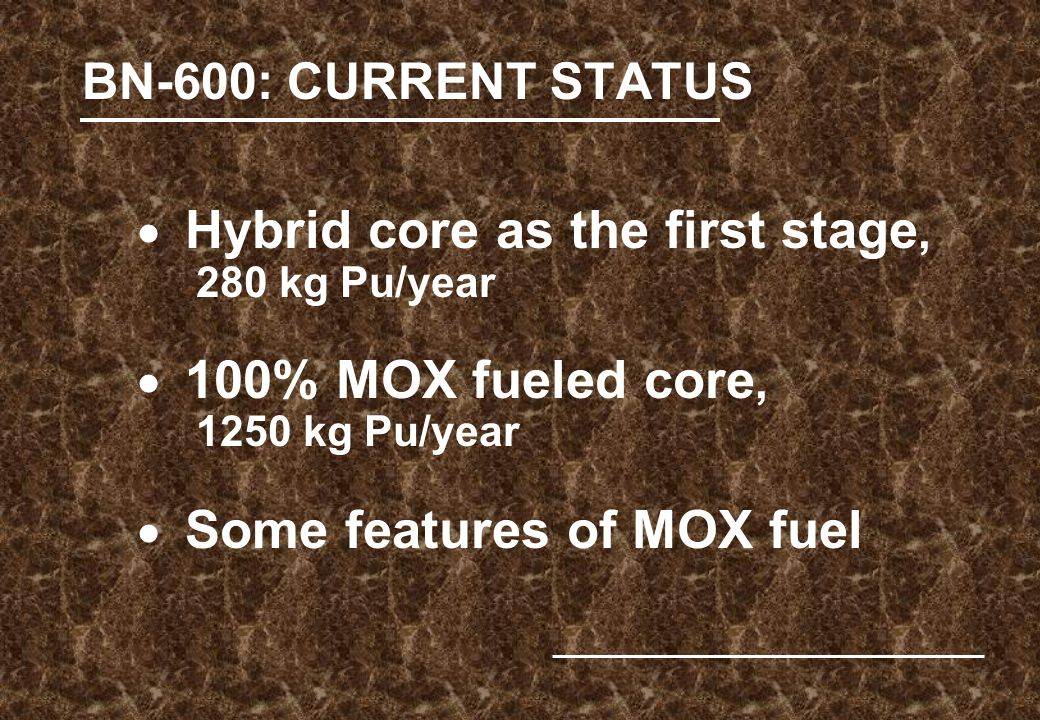 BN-600: CURRENT STATUS  Hybrid core as the first stage, 280 kg Pu/year  100% MOX fueled core, 1250 kg Pu/year  Some features of MOX fuel