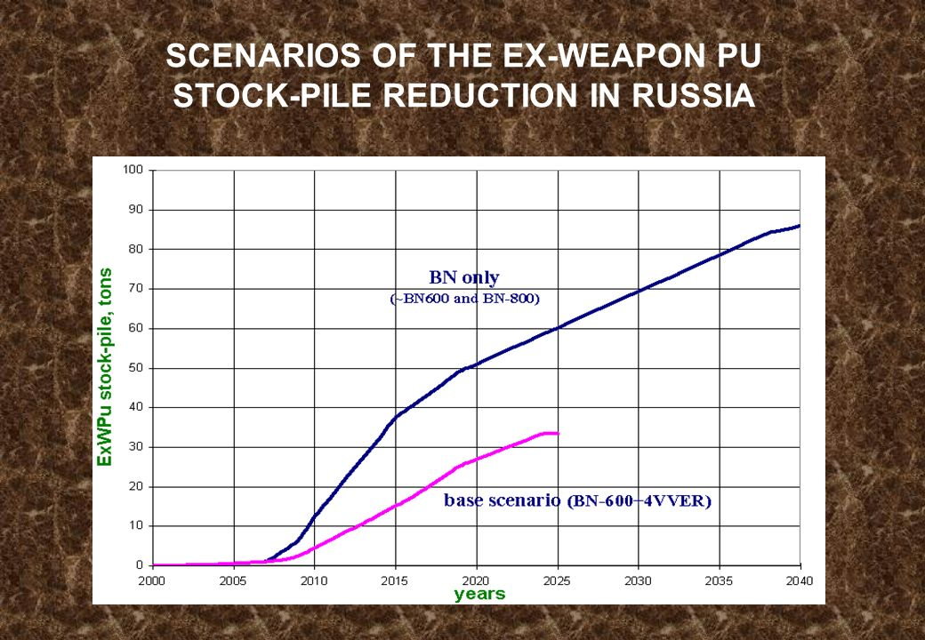 SCENARIOS OF THE EX-WEAPON PU STOCK-PILE REDUCTION IN RUSSIA