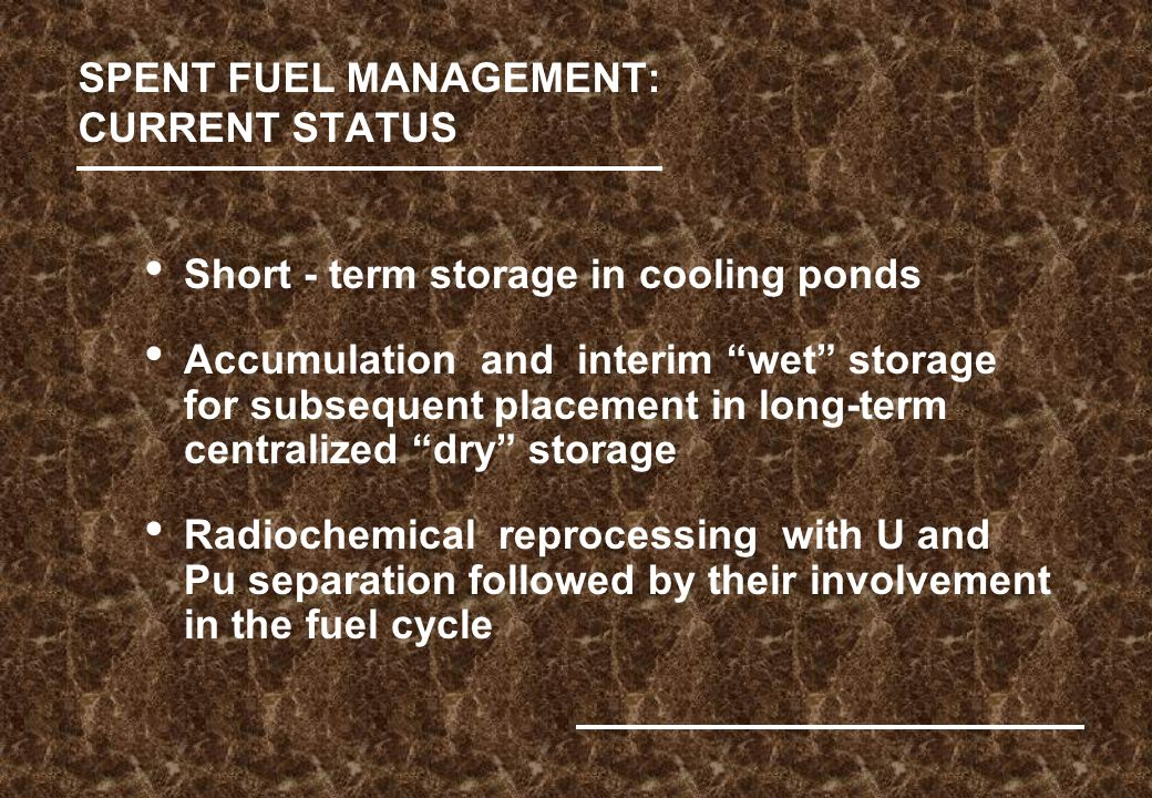 SPENT FUEL MANAGEMENT: CURRENT STATUS Short - term storage in cooling ponds Accumulation and interim wet storage for subsequent placement in long-term centralized dry storage Radiochemical reprocessing with U and Pu separation followed by their involvement in the fuel cycle