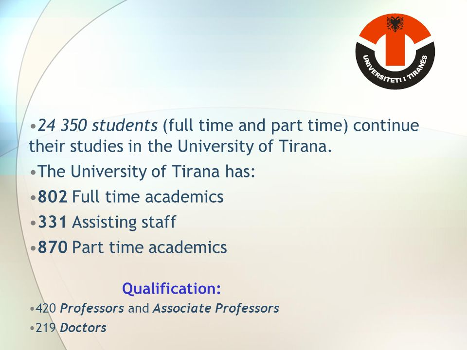 students (full time and part time) continue their studies in the University of Tirana.