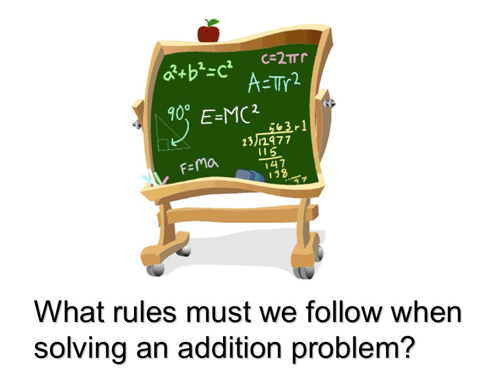 What rules must we follow when solving an addition problem