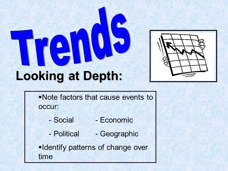 Looking at Depth:   Note factors that cause events to occur: - Social- Economic - Political- Geographic   Identify patterns of change over time