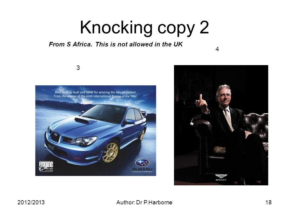 Knocking copy 2 2012/2013Author: Dr P.Harborne18 3 4 From S Africa. This is not allowed in the UK