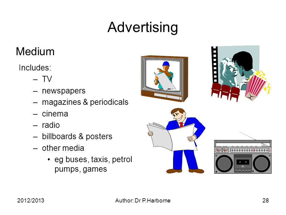 2012/2013Author: Dr P.Harborne28 Advertising Includes: –TV –newspapers –magazines & periodicals –cinema –radio –billboards & posters –other media eg buses, taxis, petrol pumps, games Medium