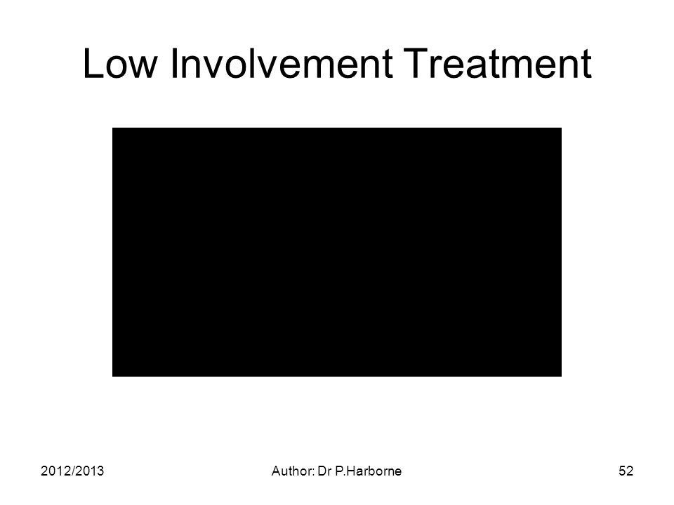 2012/2013Author: Dr P.Harborne52 Low Involvement Treatment