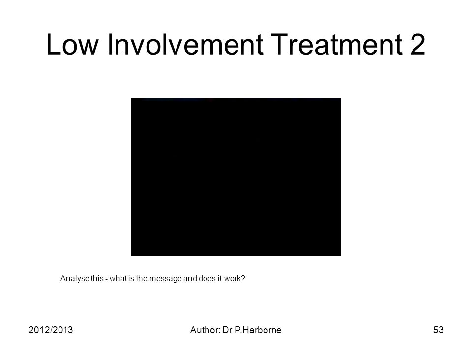 2012/2013Author: Dr P.Harborne53 Low Involvement Treatment 2 Analyse this - what is the message and does it work
