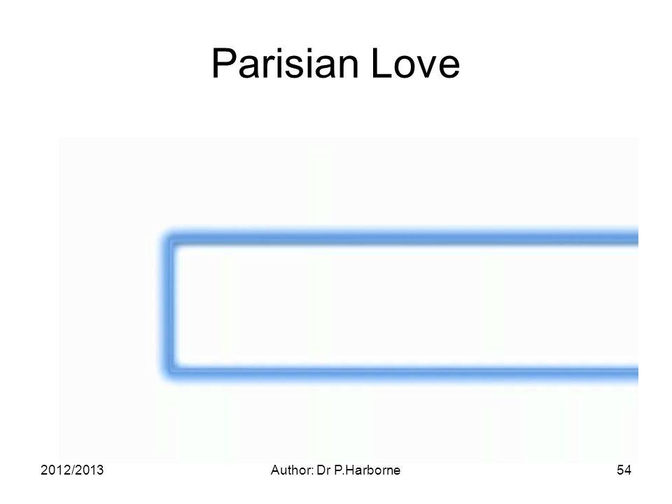 2012/2013Author: Dr P.Harborne54 Parisian Love