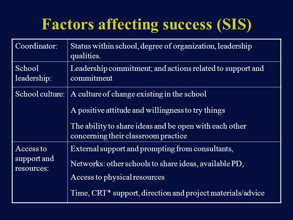 Factors affecting success (SIS) Coordinator:Status within school, degree of organization, leadership qualities.