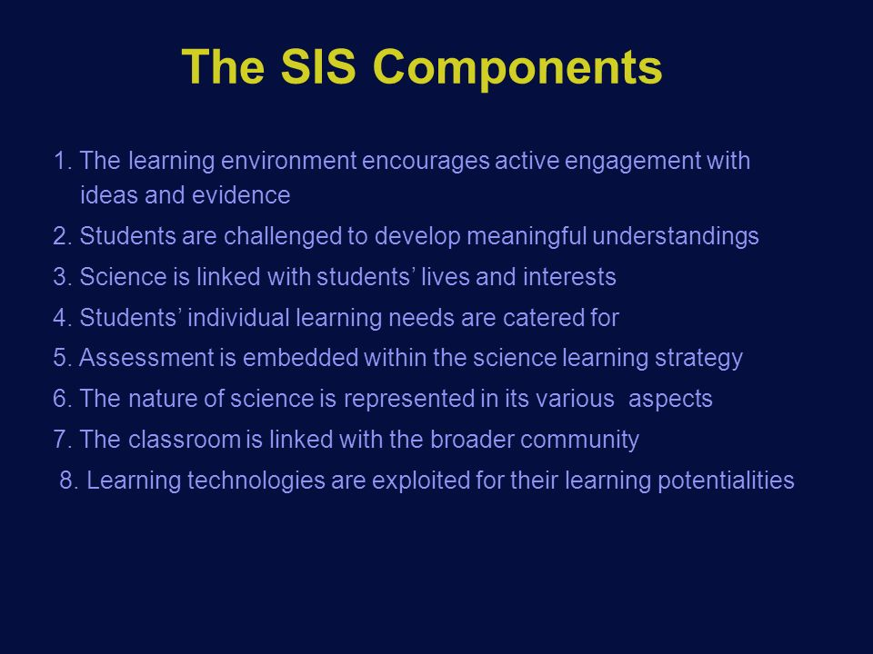 The SIS Components 1.