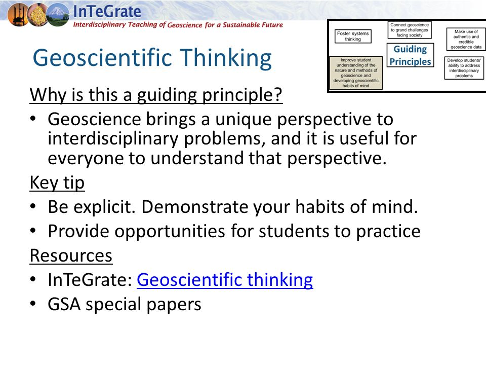 Geoscientific Thinking Why is this a guiding principle.