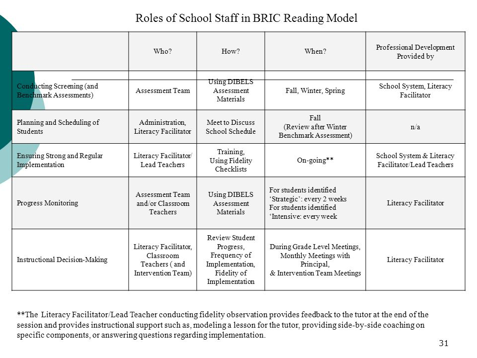 31 Roles of School Staff in BRIC Reading Model **The Literacy Facilitator/Lead Teacher conducting fidelity observation provides feedback to the tutor at the end of the session and provides instructional support such as, modeling a lesson for the tutor, providing side-by-side coaching on specific components, or answering questions regarding implementation.