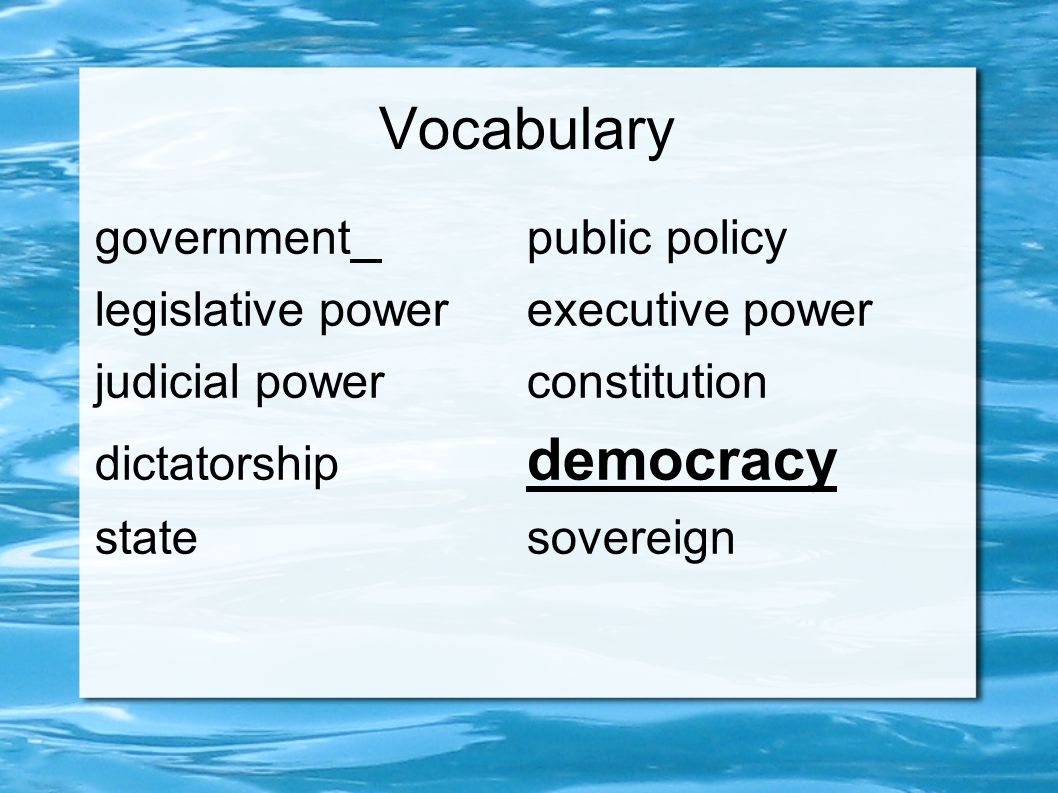 Vocabulary governmentpublic policy legislative powerexecutive power judicial powerconstitution dictatorship democracy statesovereign