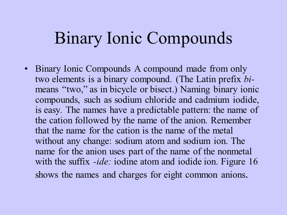 Describing Ionic Compounds The name of an ionic compound must distinguish the compound from other ionic compounds containing the same elements.
