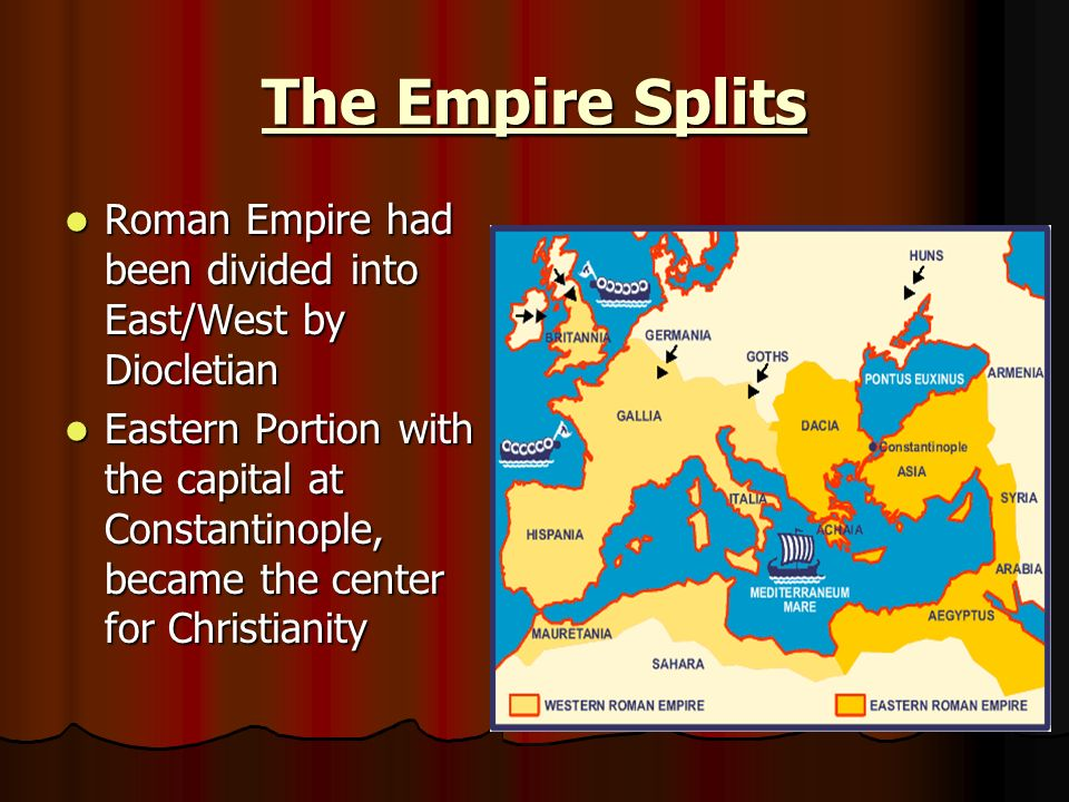 The Empire Splits Roman Empire had been divided into East/West by Diocletian Roman Empire had been divided into East/West by Diocletian Eastern Portion with the capital at Constantinople, became the center for Christianity Eastern Portion with the capital at Constantinople, became the center for Christianity
