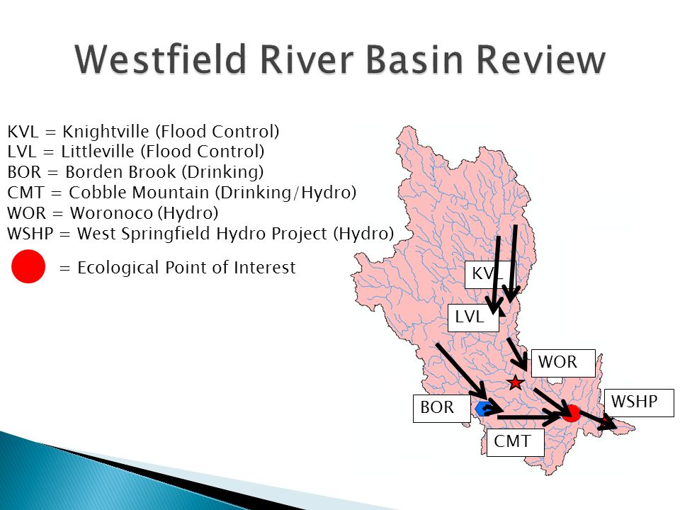 KVL CMT BOR LVL WOR WSHP KVL = Knightville (Flood Control) LVL = Littleville (Flood Control) BOR = Borden Brook (Drinking) CMT = Cobble Mountain (Drinking/Hydro) WOR = Woronoco (Hydro) WSHP = West Springfield Hydro Project (Hydro) = Ecological Point of Interest