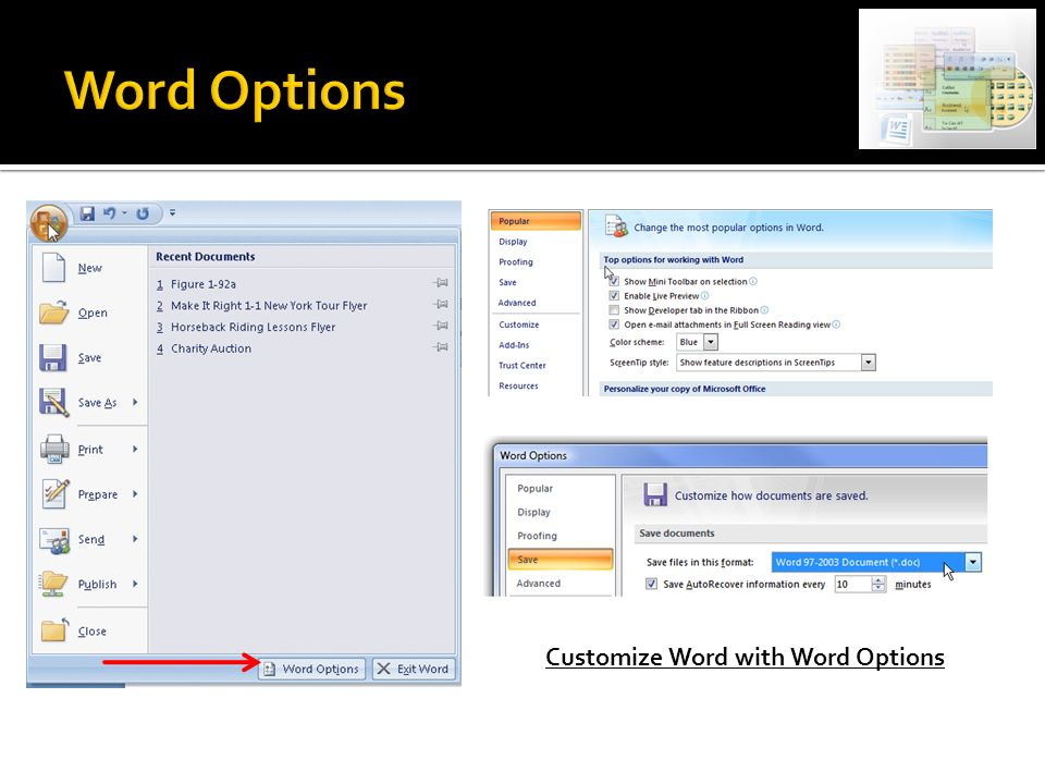 Customize Word with Word Options