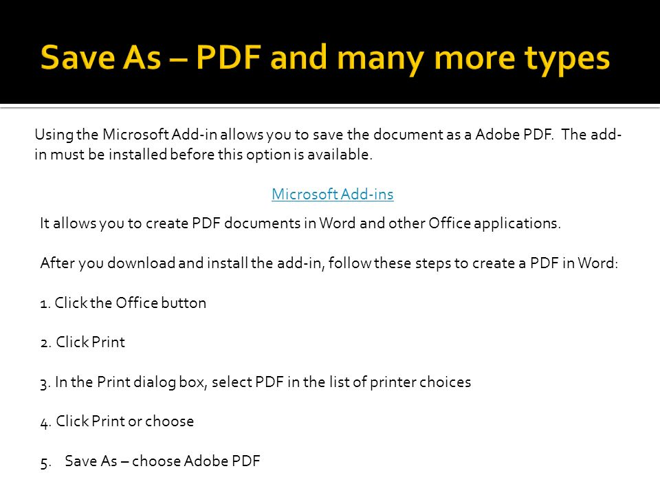 It allows you to create PDF documents in Word and other Office applications.