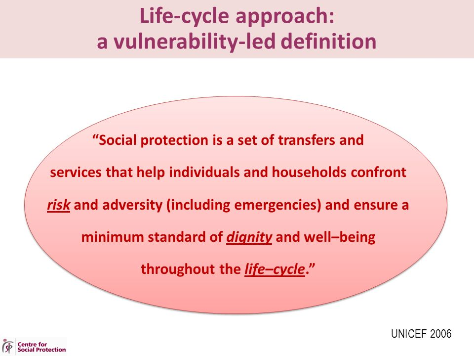 Life-cycle approach: a vulnerability-led definition Social protection is a set of transfers and services that help individuals and households confront risk and adversity (including emergencies) and ensure a minimum standard of dignity and well–being throughout the life–cycle. UNICEF 2006