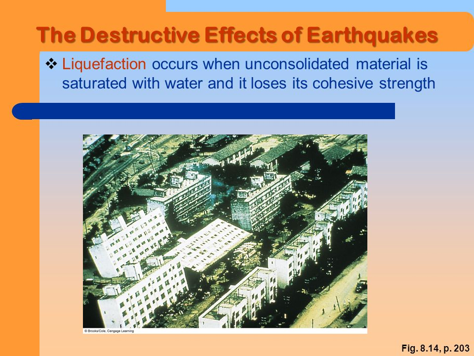 The Destructive Effects of Earthquakes  Liquefaction occurs when unconsolidated material is saturated with water and it loses its cohesive strength Fig.