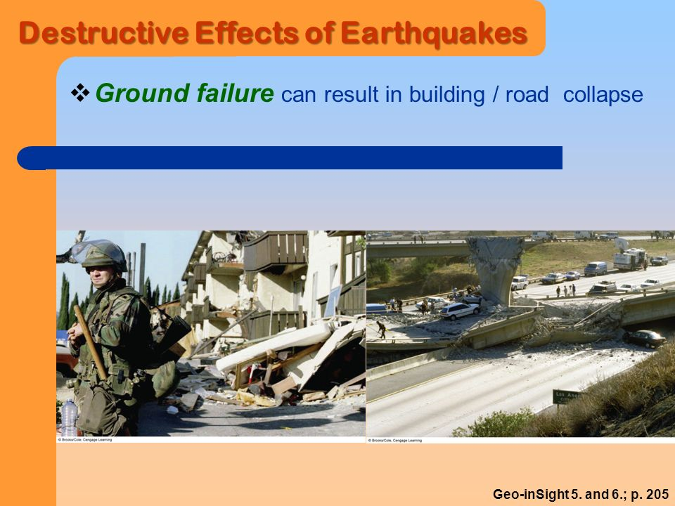 Destructive Effects of Earthquakes  Ground failure can result in building / road collapse Geo-inSight 5.