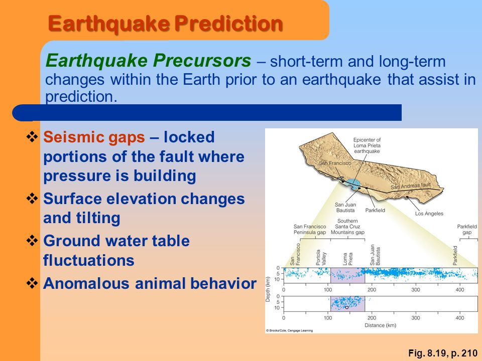 Earthquake Prediction Earthquake Precursors – short-term and long-term changes within the Earth prior to an earthquake that assist in prediction.