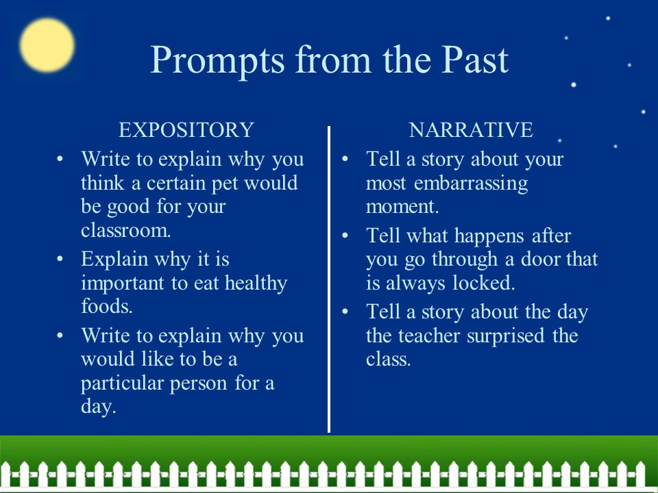 Prompts from the Past EXPOSITORY Write to explain why you think a certain pet would be good for your classroom.