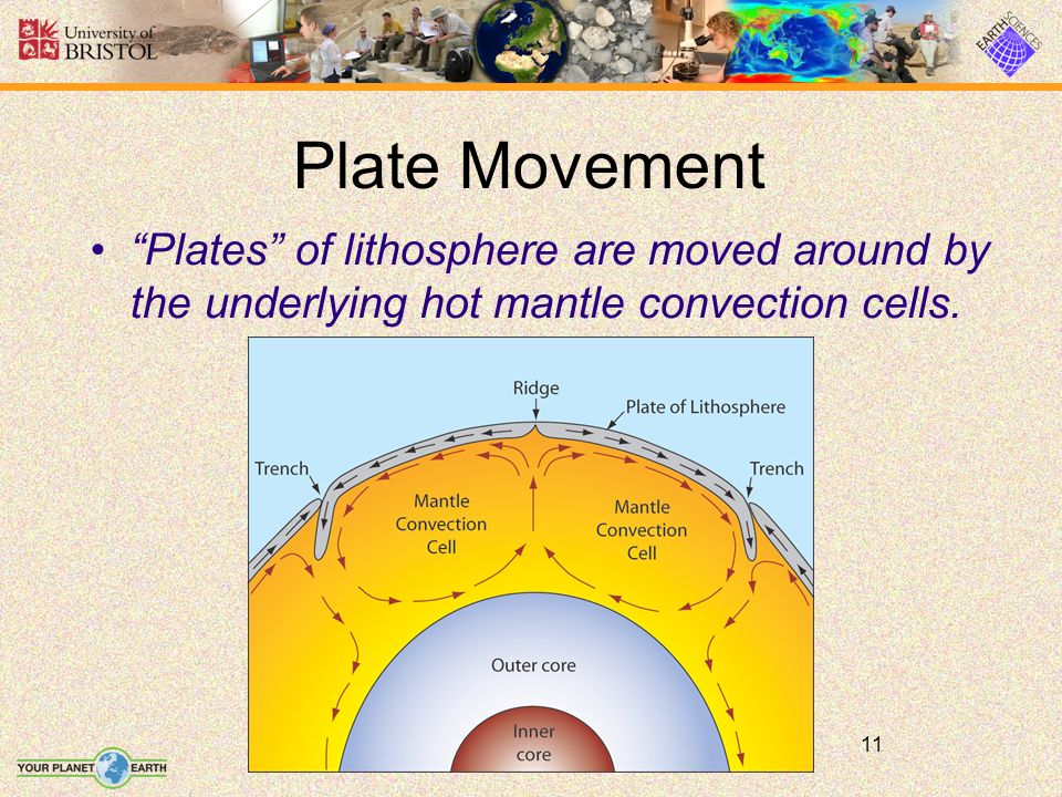 11 Plate Movement Plates of lithosphere are moved around by the underlying hot mantle convection cells.