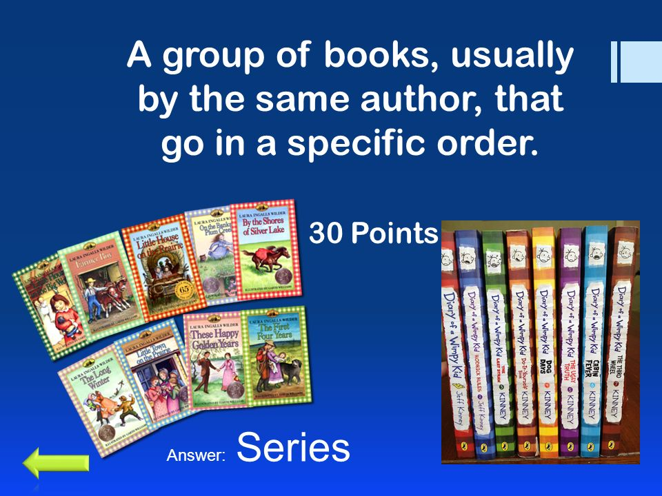 A group of books, usually by the same author, that go in a specific order. 30 Points Answer: Series