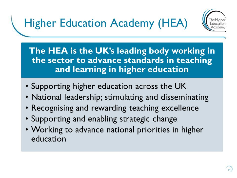 14 Higher Education Academy (HEA) The HEA is the UK's leading body working in the sector to advance standards in teaching and learning in higher education Supporting higher education across the UK National leadership; stimulating and disseminating Recognising and rewarding teaching excellence Supporting and enabling strategic change Working to advance national priorities in higher education