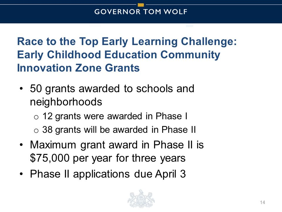 Tom Wolf, Governor Pedro Rivera, Acting Secretary of Education | Ted Dallas, Acting Secretary of Human Services Race to the Top Early Learning Challenge: Early Childhood Education Community Innovation Zone Grants 50 grants awarded to schools and neighborhoods o 12 grants were awarded in Phase I o 38 grants will be awarded in Phase II Maximum grant award in Phase II is $75,000 per year for three years Phase II applications due April 3 14