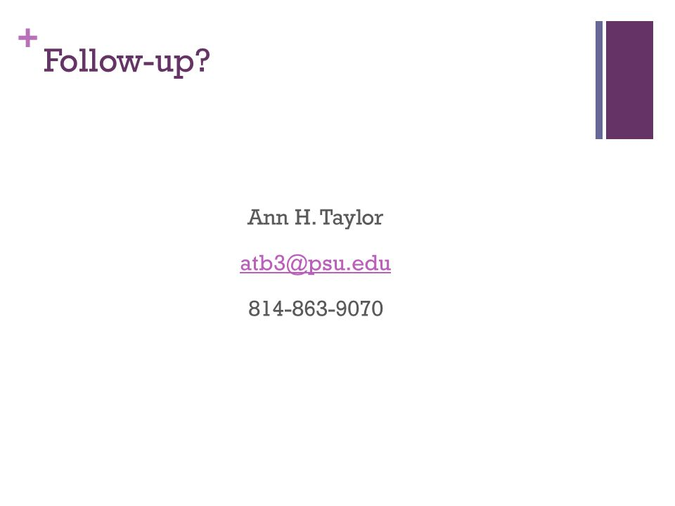 + Follow-up Ann H. Taylor