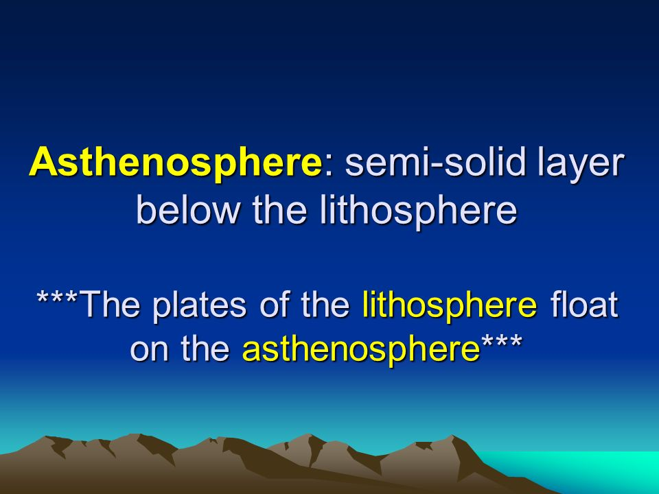 Asthenosphere: semi-solid layer below the lithosphere ***The plates of the lithosphere float on the asthenosphere***