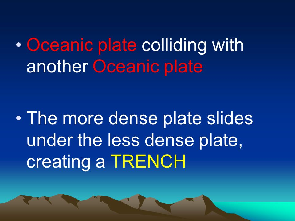 Oceanic plate colliding with another Oceanic plate The more dense plate slides under the less dense plate, creating a TRENCH