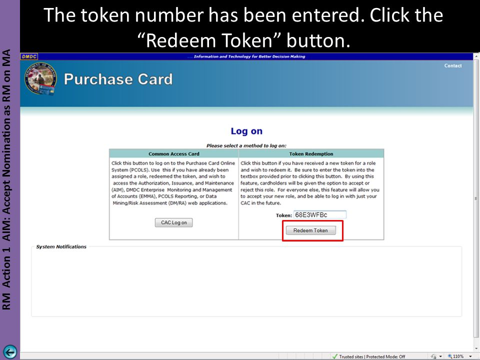 The token number has been entered. Click the Redeem Token button.