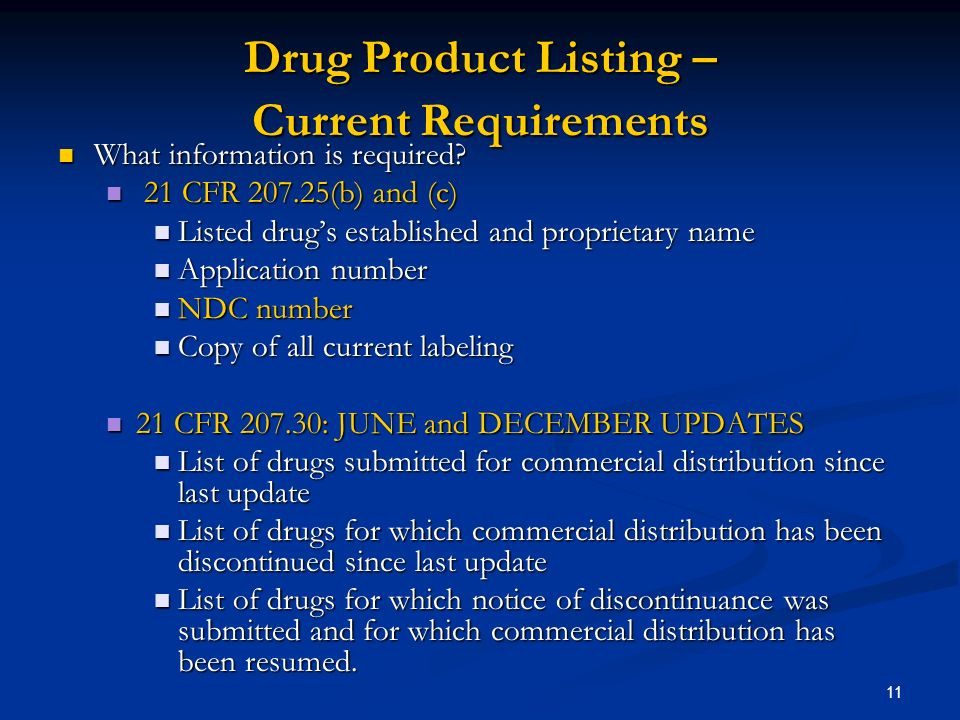 11 Drug Product Listing – Current Requirements What information is required.