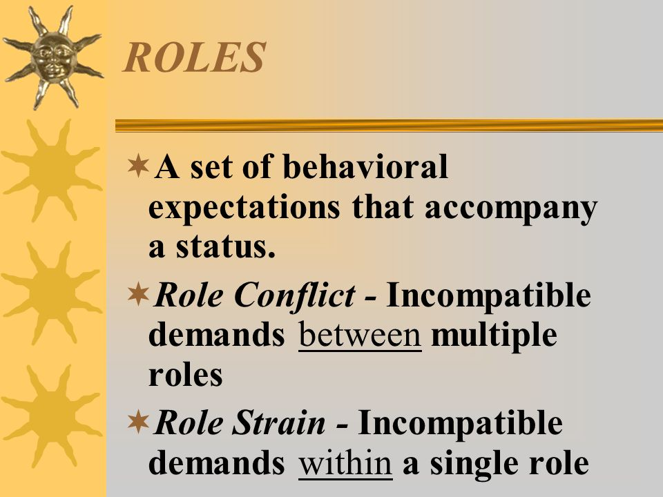 ROLES  A set of behavioral expectations that accompany a status.  Role Conflict - Incompatible demands between multiple roles  Role Strain - Incomp