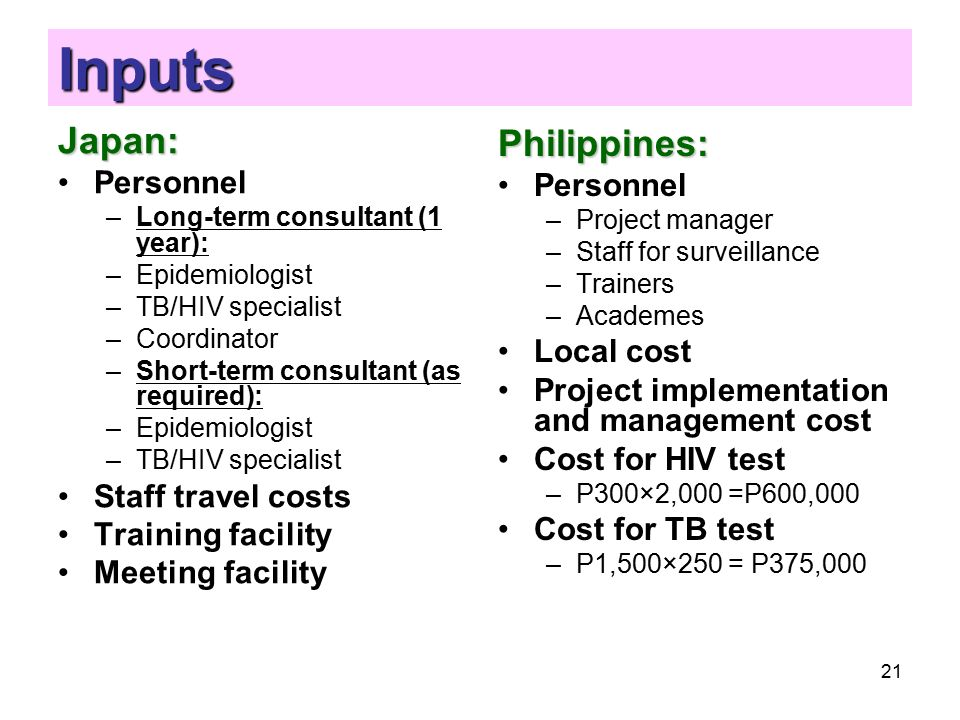 21 Inputs Japan: Personnel –Long-term consultant (1 year): –Epidemiologist –TB/HIV specialist –Coordinator –Short-term consultant (as required): –Epidemiologist –TB/HIV specialist Staff travel costs Training facility Meeting facility Philippines: Personnel –Project manager –Staff for surveillance –Trainers –Academes Local cost Project implementation and management cost Cost for HIV test –P300×2,000 =P600,000 Cost for TB test –P1,500×250 = P375,000