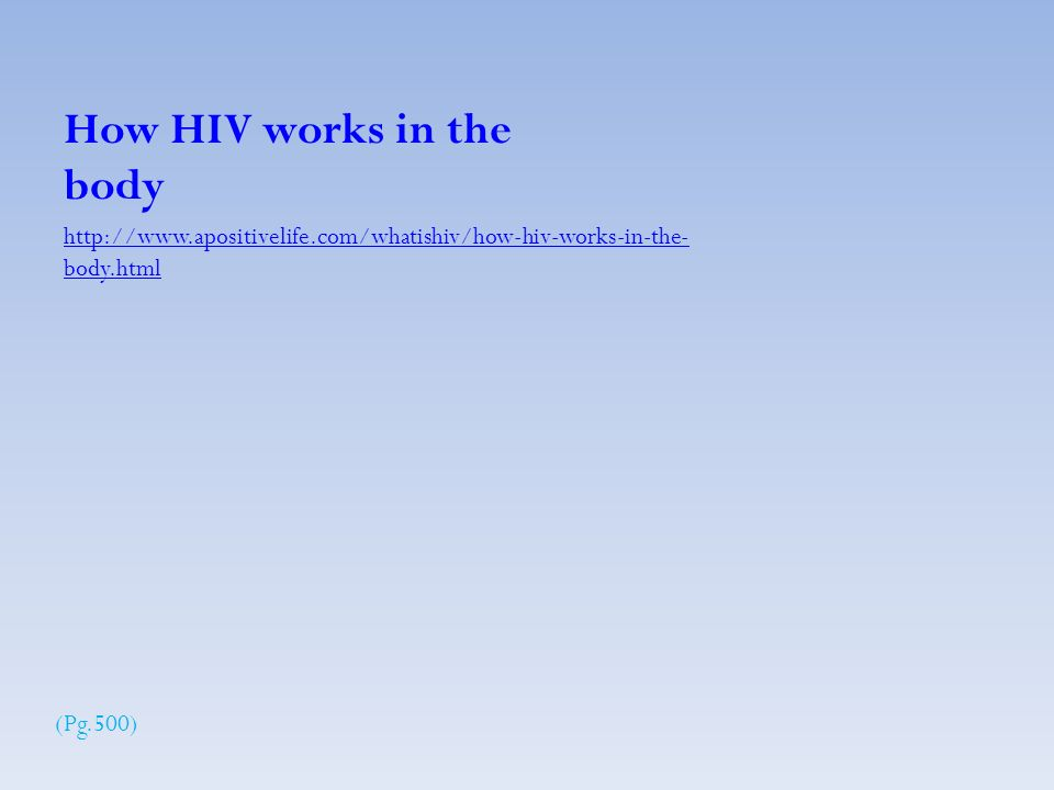 body.html How HIV works in the body (Pg.500)