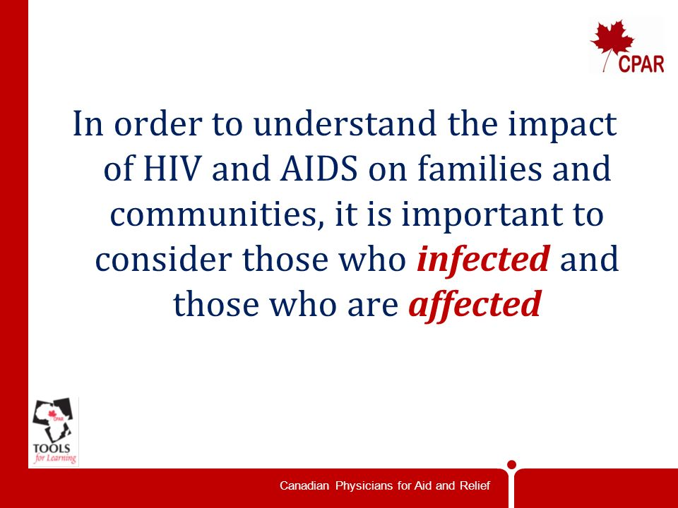 Canadian Physicians for Aid and Relief What are the implications of this for individuals people.
