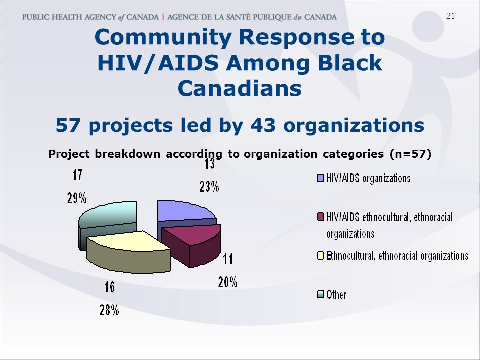 21 Community Response to HIV/AIDS Among Black Canadians 57 projects led by 43 organizations Project breakdown according to organization categories (n=57)