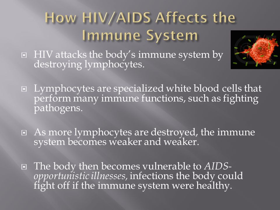 HIV attacks the body's immune system by destroying lymphocytes.