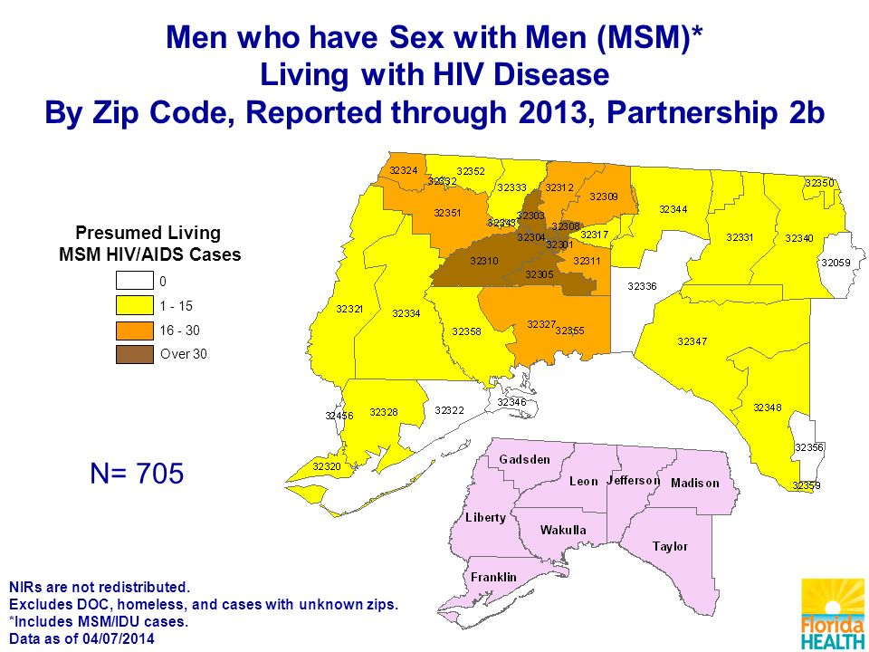 Over Presumed Living MSM HIV/AIDS Cases N= 705 Men who have Sex with Men (MSM)* Living with HIV Disease By Zip Code, Reported through 2013, Partnership 2b NIRs are not redistributed.