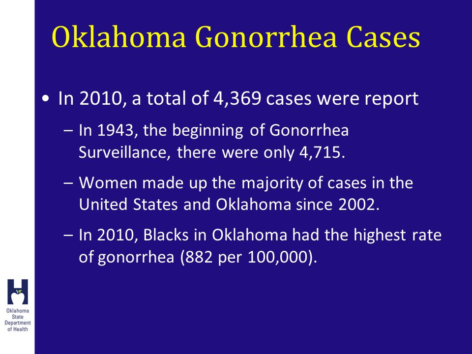 Oklahoma Gonorrhea Cases In 2010, a total of 4,369 cases were report –In 1943, the beginning of Gonorrhea Surveillance, there were only 4,715.