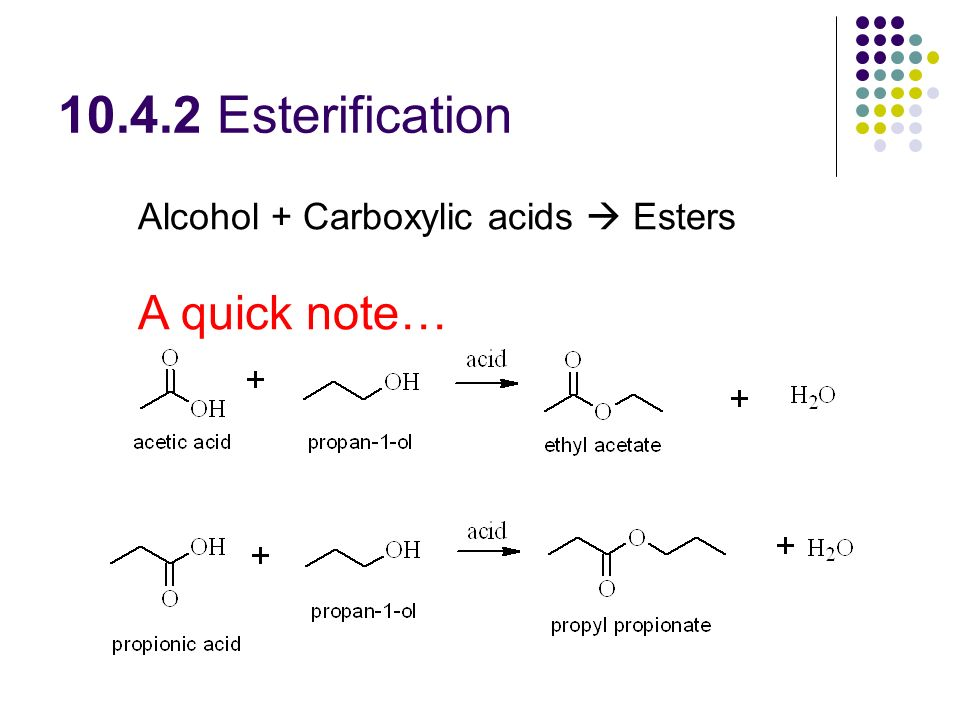 Esterification Alcohol + Carboxylic acids  Esters A quick note…