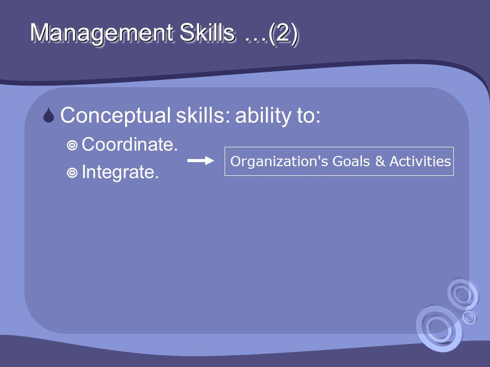 Management Skills …(2)  Conceptual skills: ability to:  Coordinate.