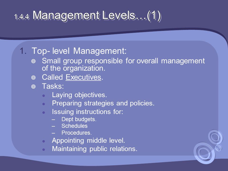 1.4.4 Management Levels…(1) 1.Top- level Management:  Small group responsible for overall management of the organization.