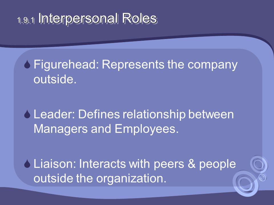 1.9.1 Interpersonal Roles  Figurehead: Represents the company outside.