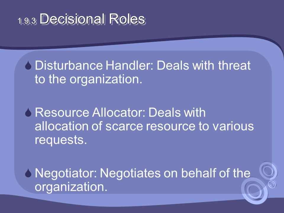 1.9.3 Decisional Roles  Disturbance Handler: Deals with threat to the organization.